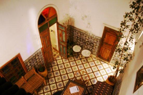 Riad Dar Iaazane: the lobby area, room with door open is another bedroom, other door is bathroom