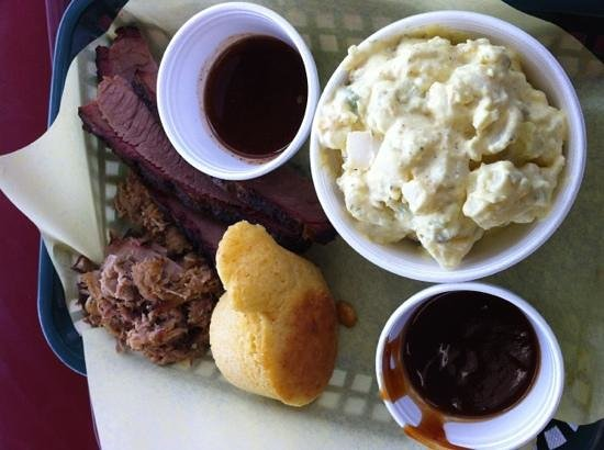 BBQ Joint: 2 Meat Platter with Brisket, Pulled Pork and Potato Salad (Double Portion)