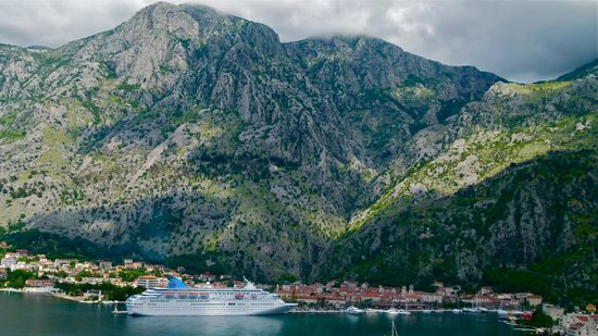 View of Kotor city with the hotel Vardar in the historic town, near the harbour