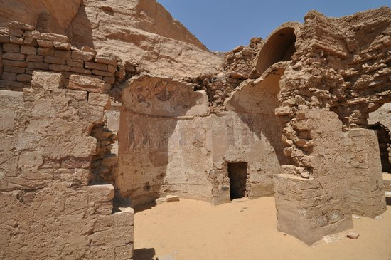 Walls of the old Coptic Church, Qubbet el-Hawa, Tombs of the Nobles, Aswan May 2013