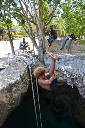 Little Bay, Jamaica: BJ flipping into Blue Hole