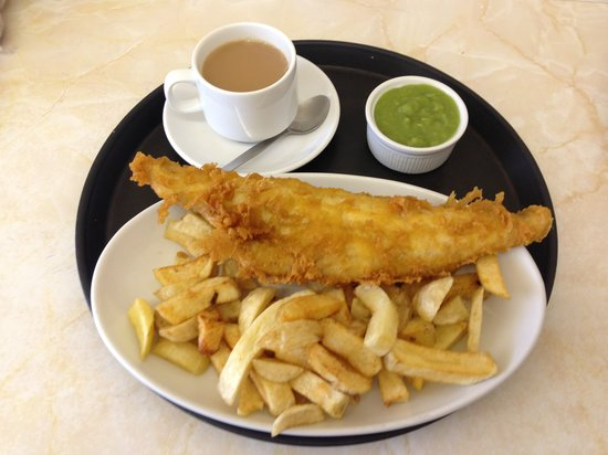 Audrey's Fish & Chips: Haddock, Chips & Peas with a cup of tea.