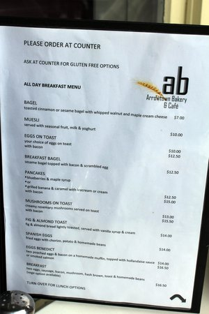Arrowtown Bakery & Cafe: Bakery menu in Feb 2013