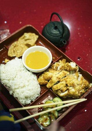 Noodle Exchange: Lemon chicken bento plate.