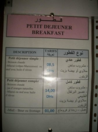 Hotel Diamant d'Atlas: Tarif Breakfast