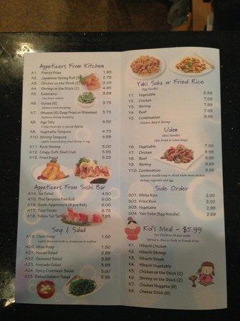 Sake House: menu