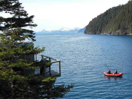 Orca Island Cabins: View from one yurt deck to another yurt deck