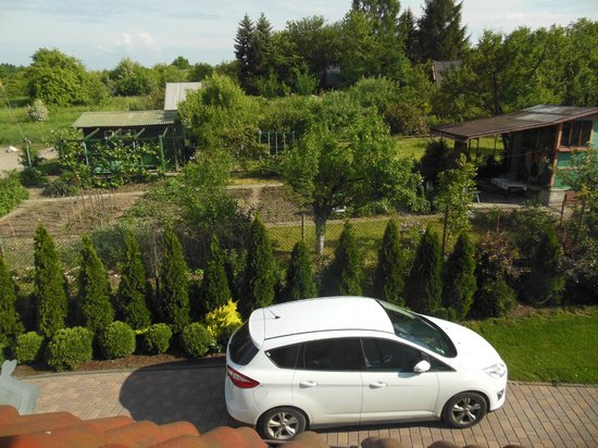 Sofia Bed & Breakfast: View from our room with our car below