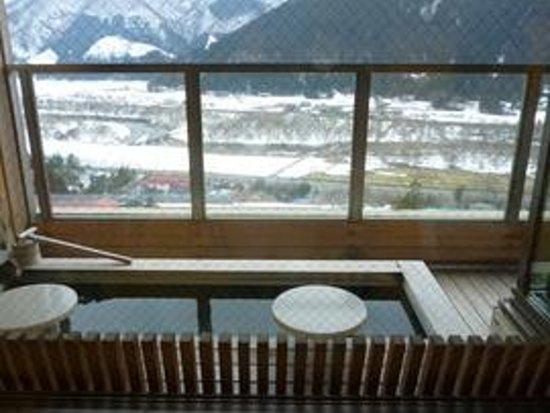 Naruko Hotel: 客室から見た足湯