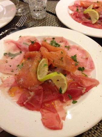 Osteria Balsamico: Carpaccio de saumon, thon et espadon