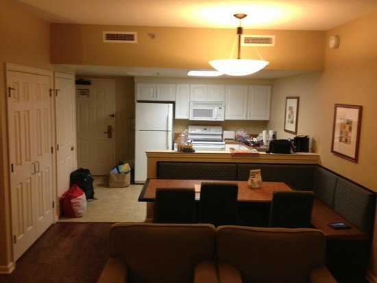 The Suites at Hershey: View from window facing kitchen, washer/dryer just on far LF behind red bag