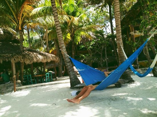 Holbox Hotel Mawimbi: hote's main chill out area with restaurant and hammocks