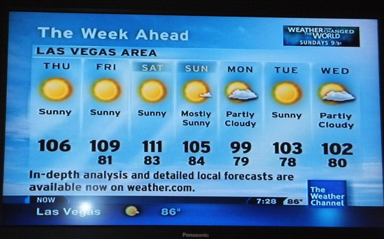 Bally's Las Vegas Hotel & Casino: Temp for the week we stayed