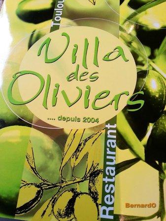 La Villa des Oliviers : La carte