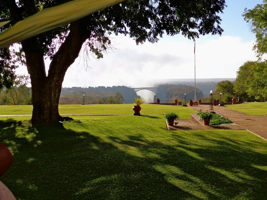 The Victoria Falls Hotel: Zambezi Bridge and the mist from the falls