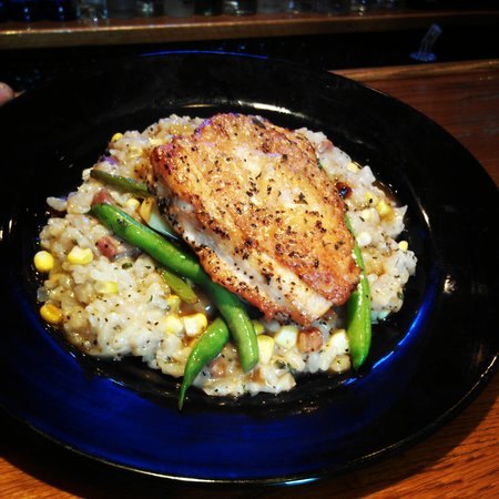 Trackside Station: Pan-Seared Chicken Breast with a shucked corn & bacon cracklings risotto and house vegetables
