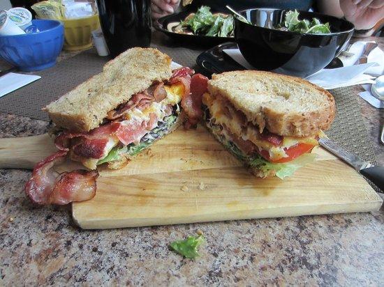 Food Revolution: Gourmet - BLT, cut open to reveal generous content.