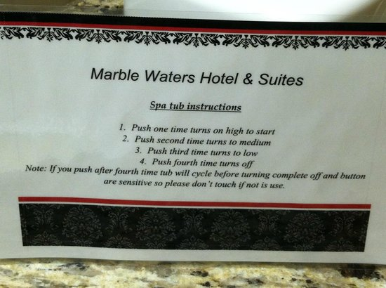 Marble Waters Hotel & Suites: Instructions