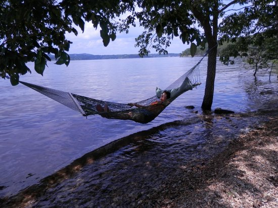 Caboose Junction Resort: hammock by the lake