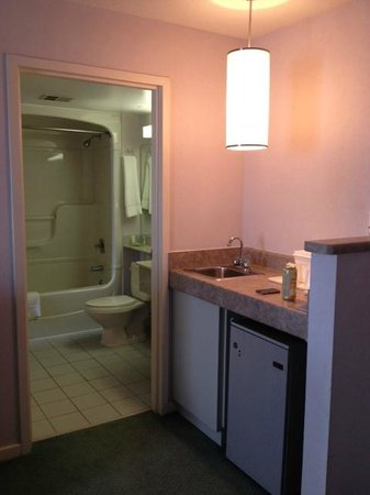 Quality Suites Downtown Windsor: bathroom and kitchenette