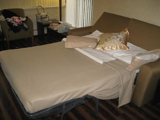 Riviera on Robson Suites Hotel Downtown Vancouver: The sofa - a pullout bed!