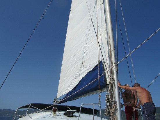 Evdora Catamaran Sailing: Sails up