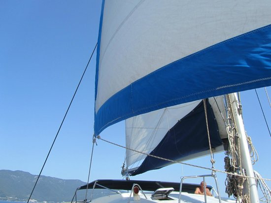 Evdora Catamaran Sailing : Sails up
