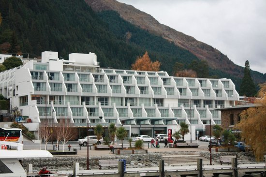 Crowne Plaza Queenstown: The Crowne Plaza taken from our steamboat trip