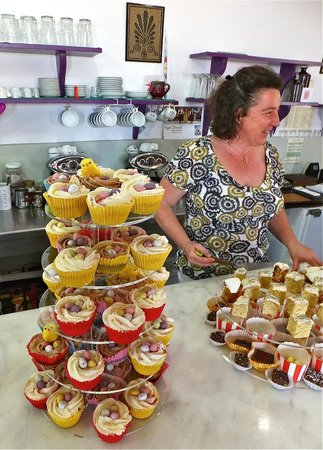 The Olive Tree Cafe: Jenine with cakes at official opening of the Olive Tree