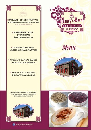 Ballyliffin, İrlanda: Nancy's Barn Menu