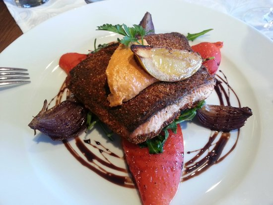 Riverside: Cajun Spiced Salmon with Roast Peppers & Red Onions