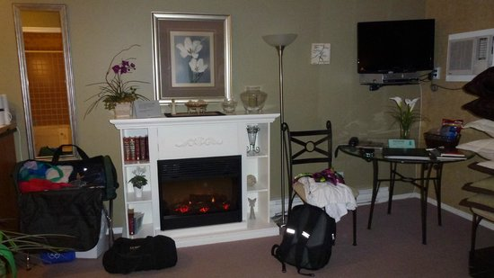 Evergreen B & B: Fireplace & TV