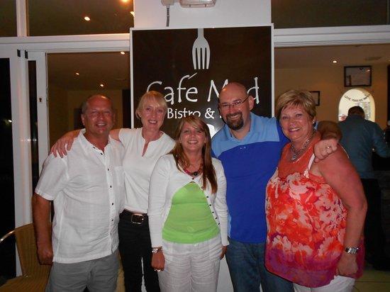 Cafe Med: Dad, Lesley, Me, David, Mum