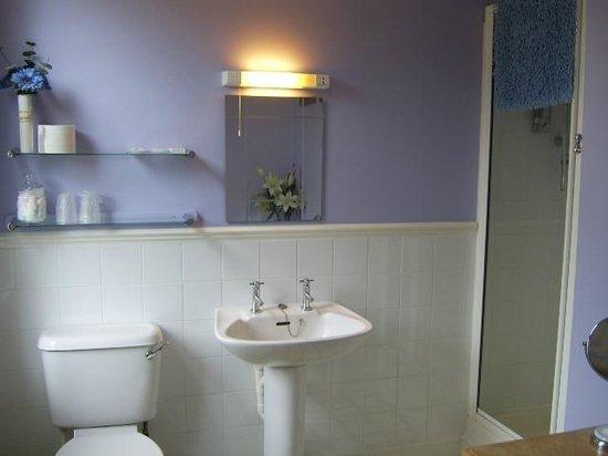 Hill House Guest House: Clean, spacious bathroom, plenty storage space
