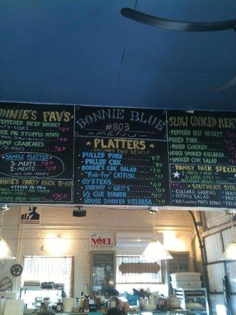 Bonnie Blue: menu items