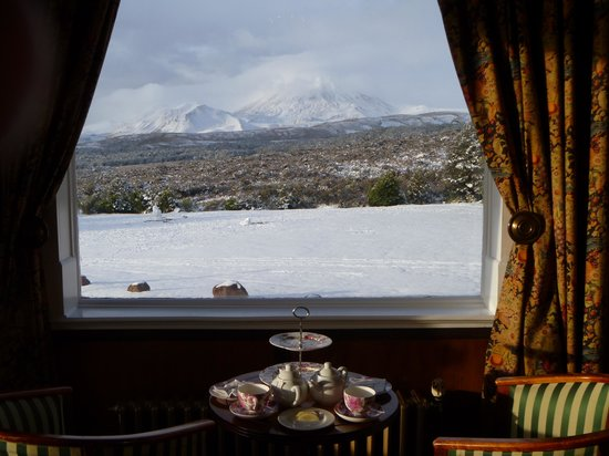 Chateau Tongariro Hotel: High tea with a view
