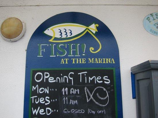 Fish At the Marina : hours