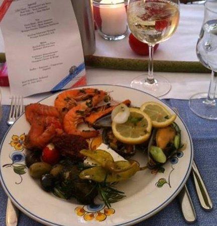 Restaurant Hotel Kollektur: Garnelen und Meeresfrüchtesalat