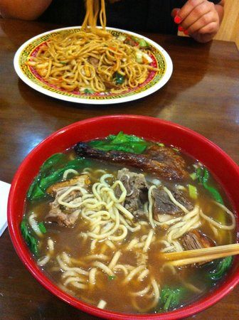Tasty Hand Pulled Noodles : Roasted duck soup ($6) and noodles with chicken, beef and shrimp ($7.5).