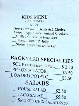 Backyard BBQ: Order Pad / Menu (continued)