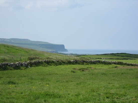 Doolin Cafe: Part of the Cliffs of Moher in the distance. What a beautiful sight