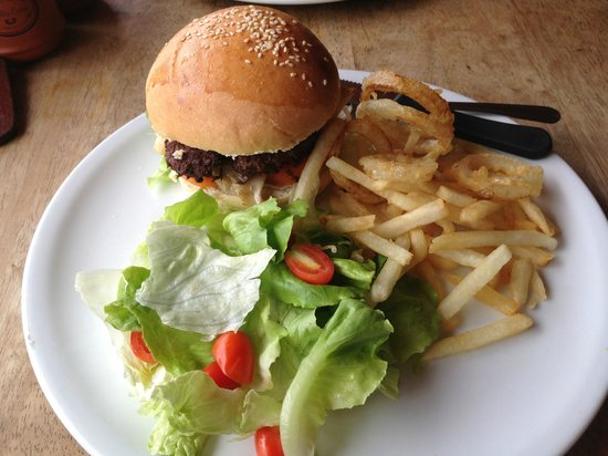 Zest Coffee Shop,Koh Tao: Burger with fries, onion rings, and salad