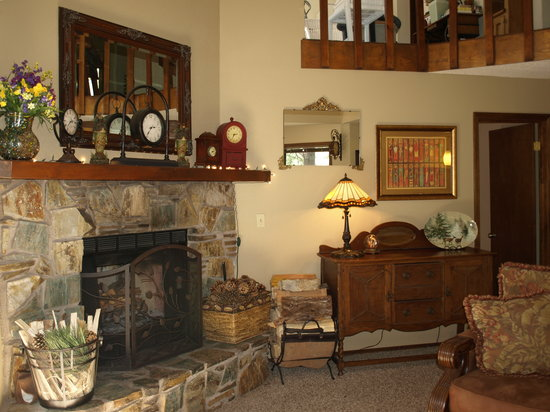 Whispering Pines Inn: A fireplace in the winter.
