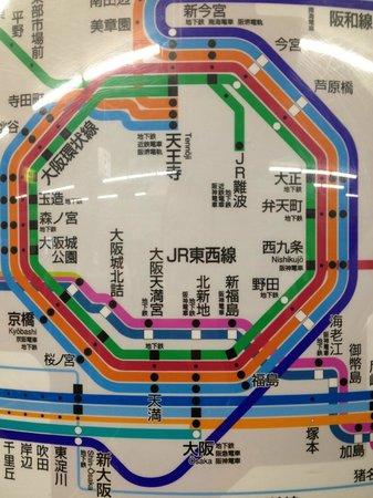 Underground map showing Tennoji - Picture of Tennoji Miyako Hotel ...