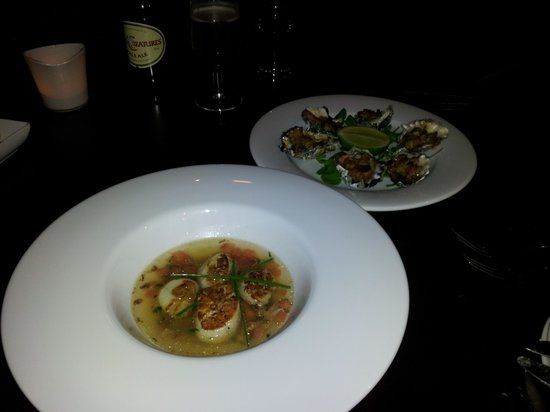 Pistachio: Scallops with shredded duck and Oyster Kilpatrick