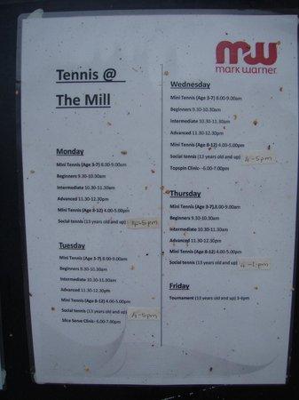 Resort Tennis Schedule