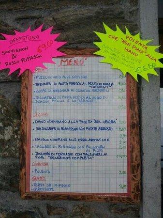 Rifugio Griera: il menu