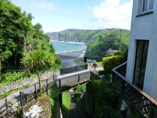 Lynton and Lynmouth Cliff Railway: view from the front platform near the top