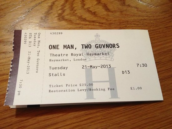 Haymarket Theatre Royal: My ticket
