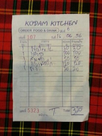 KoDam Kitchen : 320 THB for 3 mains, rice and water